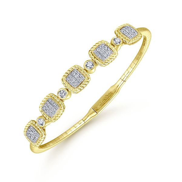 14K Yellow Gold Diamond Fashion Bangle Image 2 Koerber's Fine Jewelry, Inc. New Albany, IN