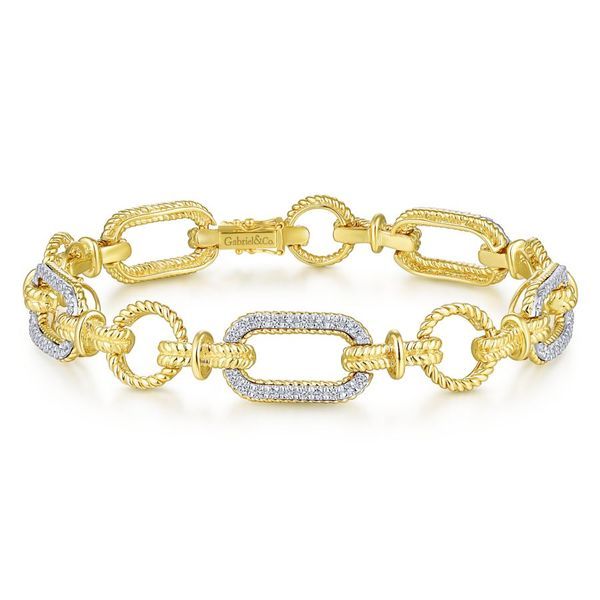 14K Yellow and White Gold Diamond Bracelet with Alternating Links Koerber's Fine Jewelry, Inc. New Albany, IN