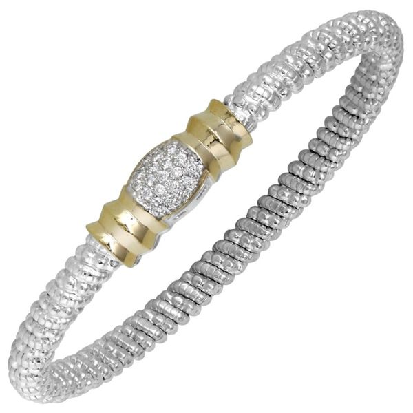 14K Yellow Gold and Sterling Silver 4mm Closed Band Bracelet Koerber's Fine Jewelry, Inc. New Albany, IN