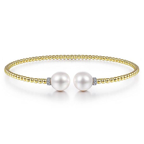 14K Yellow Gold Pearl Tipped Fashion Bangle Koerber's Fine Jewelry, Inc. New Albany, IN