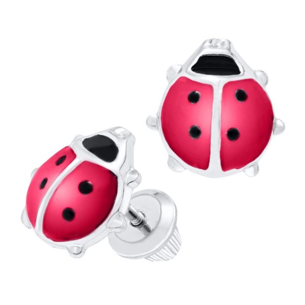 Sterling Silver Ladybug Children's Earrings. Koerber's Fine Jewelry, Inc. New Albany, IN