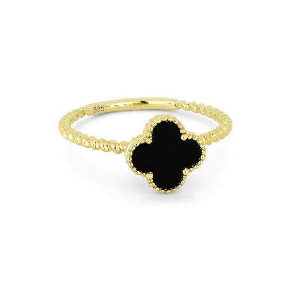 14K Yellow Gold Black Onyx Clover Ring Koerber's Fine Jewelry, Inc. New Albany, IN