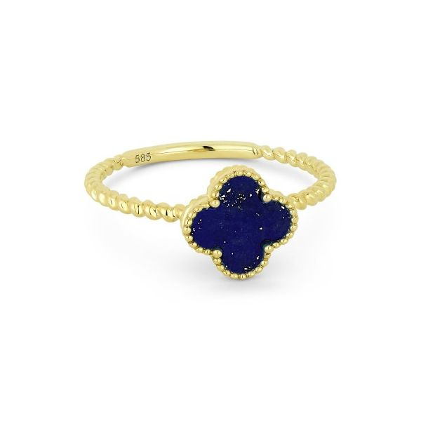 14K Yellow Gold Lapis Clover Ring Koerber's Fine Jewelry, Inc. New Albany, IN