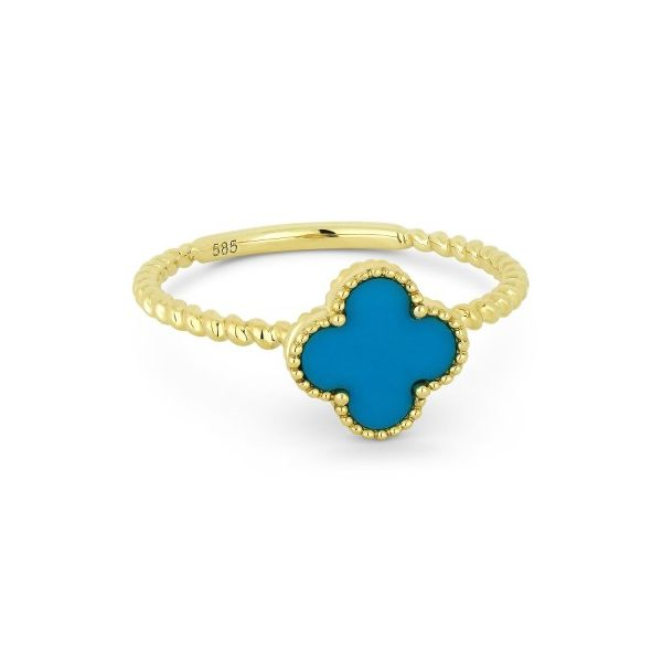 14K Yellow Gold Turquoise Clover Ring Koerber's Fine Jewelry, Inc. New Albany, IN