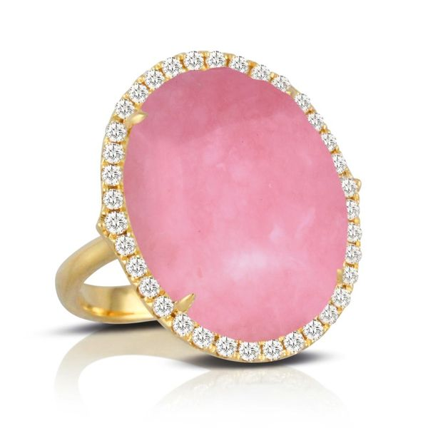 18K Yellow Gold Pink Opal and Diamond Fashion Ring Koerber's Fine Jewelry, Inc. New Albany, IN