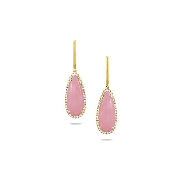 18K Yellow Gold Pink Opal and Diamond Earrings Koerber's Fine Jewelry, Inc. New Albany, IN