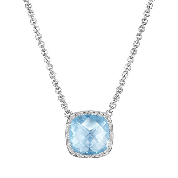 Sterling Silver Cushion Gem Necklace with Sky Blue Topaz Koerber's Fine Jewelry, Inc. New Albany, IN