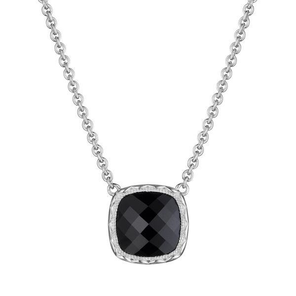 Sterling Silver Cushion Gem Necklace with Black Onyx Koerber's Fine Jewelry, Inc. New Albany, IN