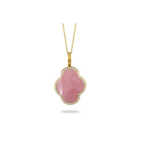 18K Yellow Gold Pink Opal and Diamond Pendant Koerber's Fine Jewelry, Inc. New Albany, IN