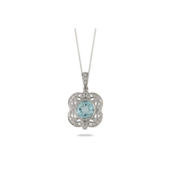 18K White Gold Light Blue Topaz Center and Diamond Pendant Koerber's Fine Jewelry, Inc. New Albany, IN