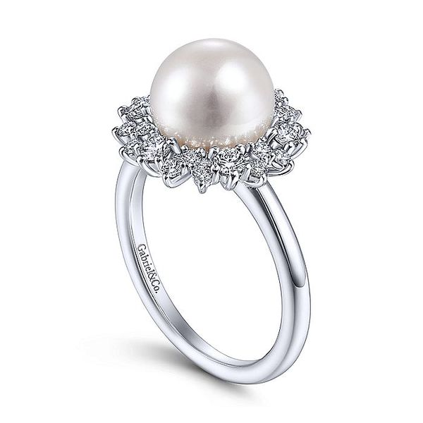 Lady's 14K White Gold Round Pearl and Diamond Ring Image 2  ,