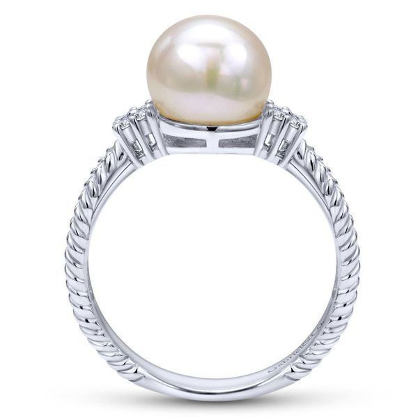 14K White Gold Twisted Classic Cultured Pearl Diamond Ring Image 2 Koerber's Fine Jewelry, Inc. New Albany, IN