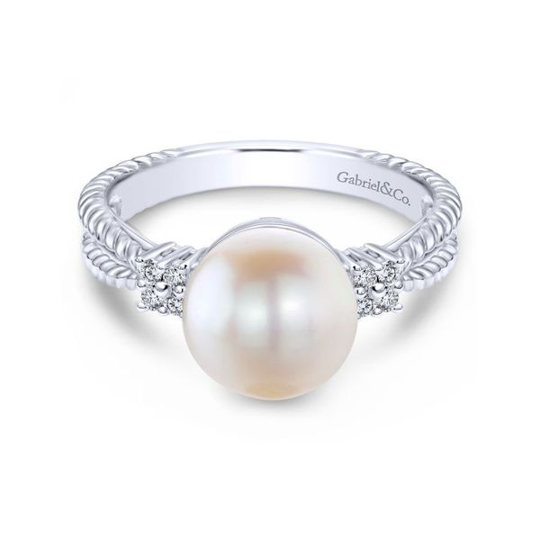 14K White Gold Twisted Classic Cultured Pearl Diamond Ring Koerber's Fine Jewelry, Inc. New Albany, IN