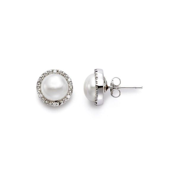 14K White Gold Pearl Button Stud Earrings Koerber's Fine Jewelry, Inc. New Albany, IN