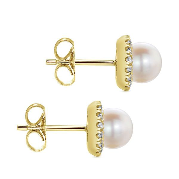 14K Yellow Gold Pearl & Diamond Halo Stud Earrings Image 2 Koerber's Fine Jewelry, Inc. New Albany, IN