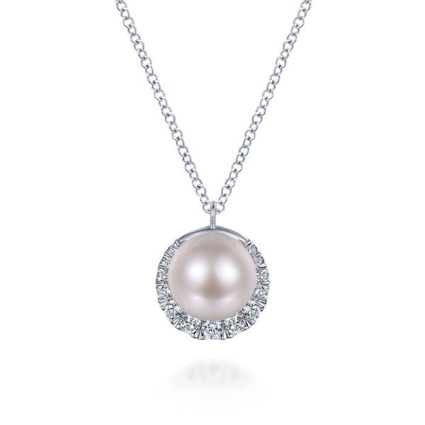 14K White Gold Round Cultured Pearl Diamond Halo Fashion Necklace Koerber's Fine Jewelry, Inc. New Albany, IN