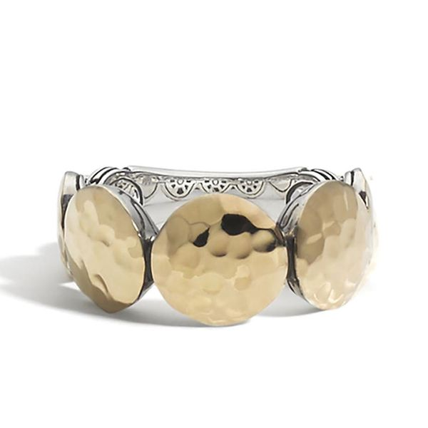 Sterling Silver and 18K Bonded Yellow Gold Dot Hammered Band Ring Koerber's Fine Jewelry, Inc. New Albany, IN