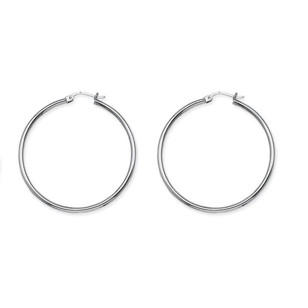 14K Whihte Gold Polished Hoop Earrings Koerber's Fine Jewelry, Inc. New Albany, IN