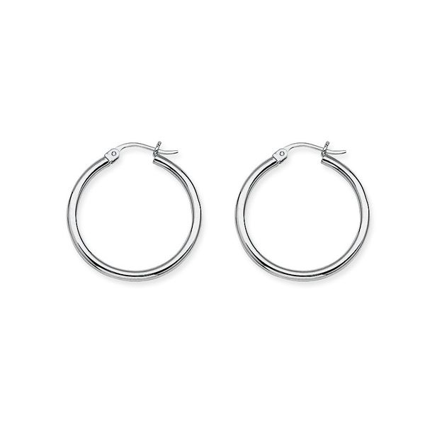14K White Gold Hoop Earrings Koerber's Fine Jewelry, Inc. New Albany, IN