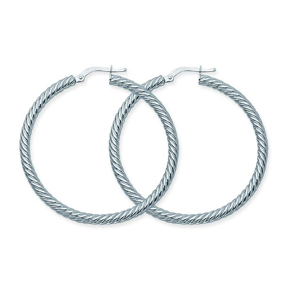 14K White Gold  3X40mm Rope Twist Hoop Earrings Koerber's Fine Jewelry, Inc. New Albany, IN