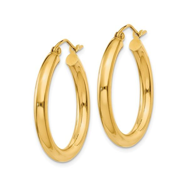 14K Yellow Gold Polished Tube Hoop Earrings Image 2 Koerber's Fine Jewelry, Inc. New Albany, IN