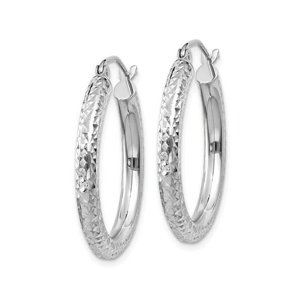 14K White Gold Diamond-Cut Round Hoop Earrings Image 2 Koerber's Fine Jewelry, Inc. New Albany, IN