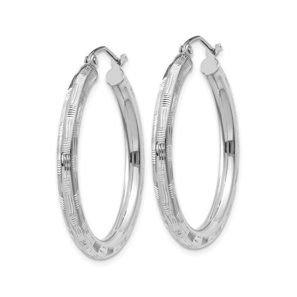 14K White Gold Textured Hoop Earrings Image 2 Koerber's Fine Jewelry, Inc. New Albany, IN
