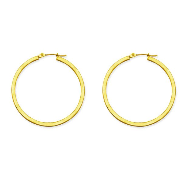 14K Yellow Gold Square Tube Round Hoop Earrings Koerber's Fine Jewelry, Inc. New Albany, IN