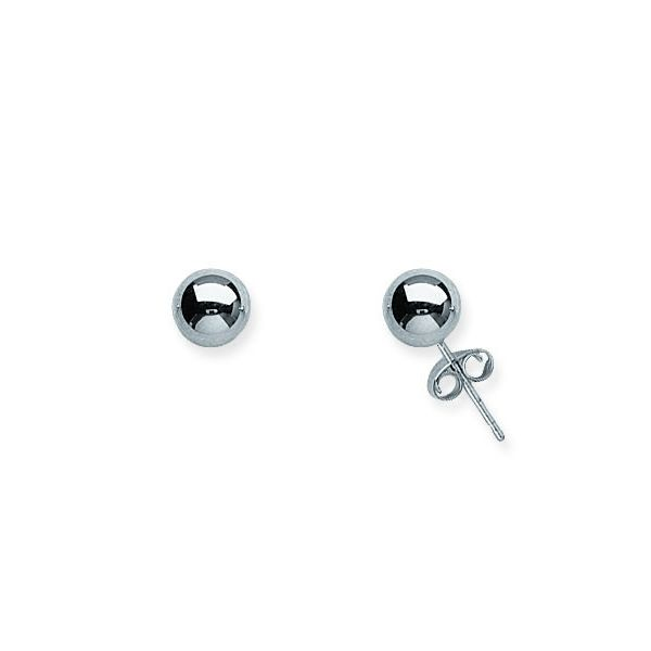 14K White Gold Ball Stud Earrings Koerber's Fine Jewelry, Inc. New Albany, IN