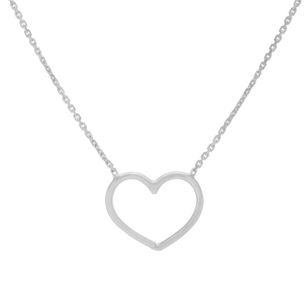 14K White Gold Open Wire Heart Adjustable Necklace Koerber's Fine Jewelry, Inc. New Albany, IN