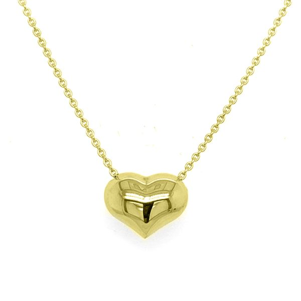 14K Yellow Gold Puffed Heart Adjustable Necklace Koerber's Fine Jewelry, Inc. New Albany, IN
