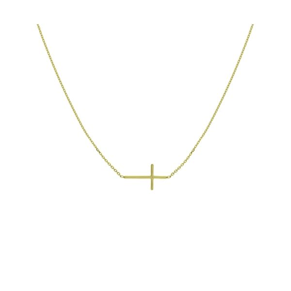 14K Yellow Gold Mini Cross Necklace Koerber's Fine Jewelry, Inc. New Albany, IN