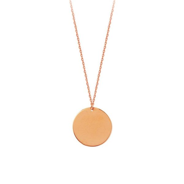 14K Rose Gold Round Engravable Necklace Koerber's Fine Jewelry, Inc. New Albany, IN