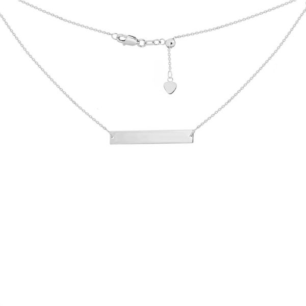 14K White Gold Name Plate Bar Necklace Koerber's Fine Jewelry, Inc. New Albany, IN