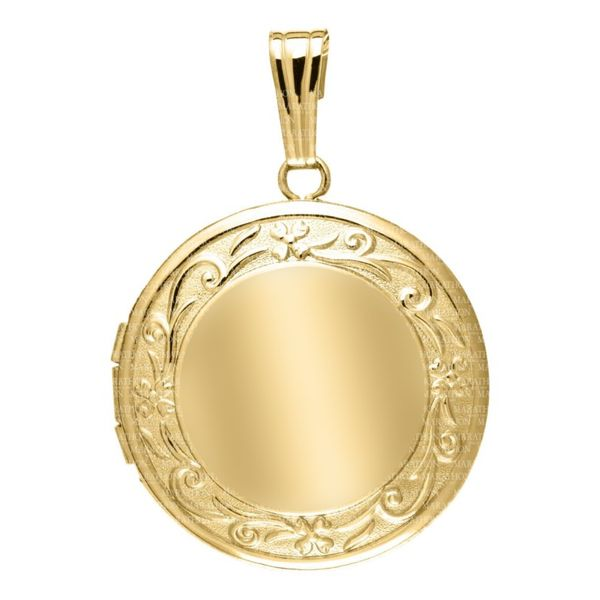14K Yellow Gold Round Locket With Scroll Edge Design Koerber's Fine Jewelry, Inc. New Albany, IN