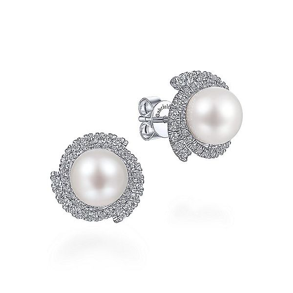 14K White Gold Round Cultured Pearl Swirling Diamond Halo Stud Earrings Koerber's Fine Jewelry, Inc. New Albany, IN