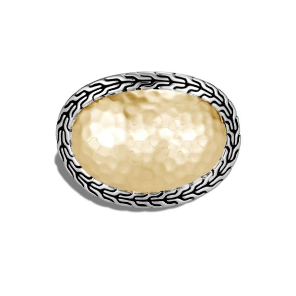 Sterling Silver and 18K Bonded Yellow Gold Classic Chain Hammered Ring Image 2 Koerber's Fine Jewelry, Inc. New Albany, IN