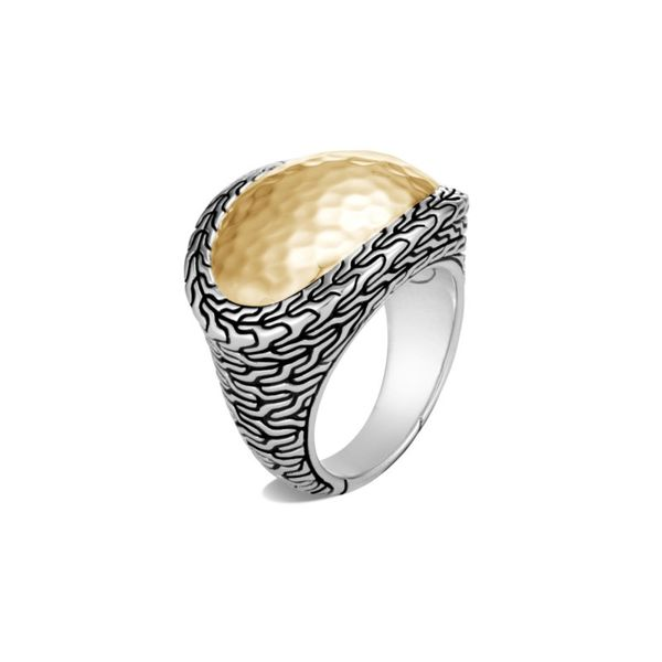 Sterling Silver and 18K Bonded Yellow Gold Classic Chain Hammered Ring Koerber's Fine Jewelry, Inc. New Albany, IN