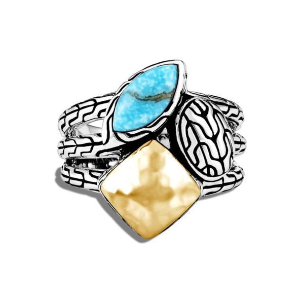 Sterling Silver and 18K Bonded Yellow Gold Classic Chain Hammered Ring with Turquoise Image 2 Koerber's Fine Jewelry, Inc. New Albany, IN