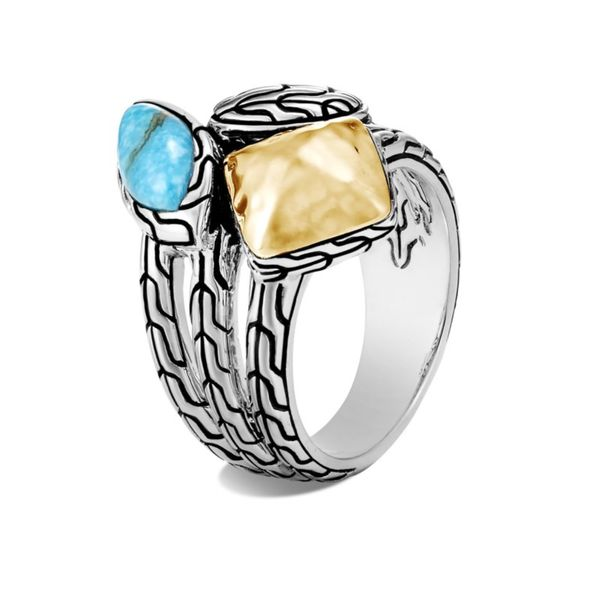 Sterling Silver and 18K Bonded Yellow Gold Classic Chain Hammered Ring with Turquoise Koerber's Fine Jewelry, Inc. New Albany, IN