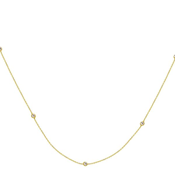 Sterling Silver Yellow Gold Plated Long and Lovely CZ Station Necklace Koerber's Fine Jewelry, Inc. New Albany, IN