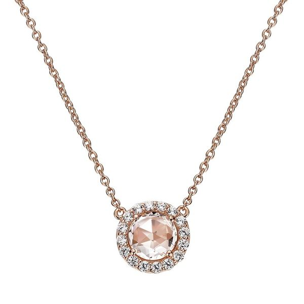 Sterling Silver Plated with Rose Gold Halo Necklace Koerber's Fine Jewelry, Inc. New Albany, IN