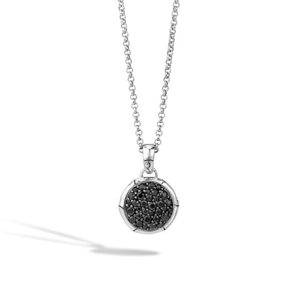 Sterling Silver Bamboo Pendant Necklace with Black Sapphire Koerber's Fine Jewelry, Inc. New Albany, IN
