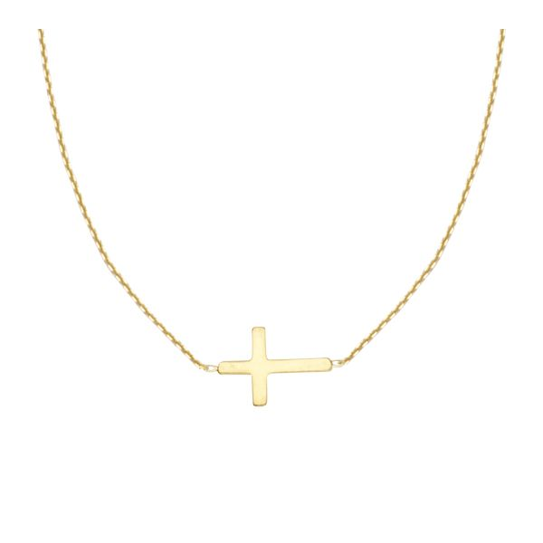 Sterling Silver Yellow Tone Plated Mini Cross Necklace Koerber's Fine Jewelry, Inc. New Albany, IN