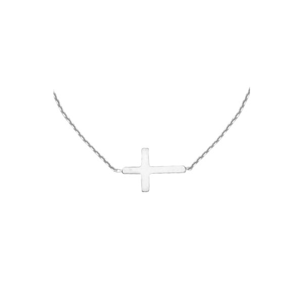 Sterling Silver Mini Sideways Cross Necklace Koerber's Fine Jewelry, Inc. New Albany, IN