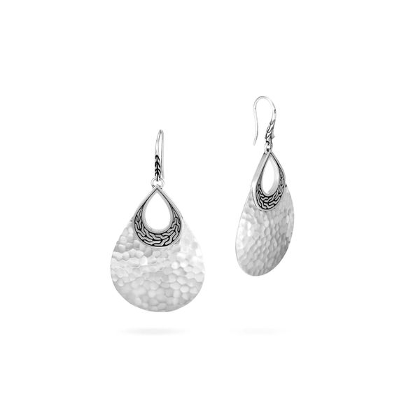 Sterling Silver Classic Chain Hammered Teardrop Earrings Koerber's Fine Jewelry, Inc. New Albany, IN