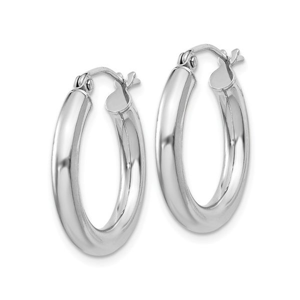 Sterling Silver Rhodium-Plated Round Hoop Earrings Image 2 Koerber's Fine Jewelry, Inc. New Albany, IN