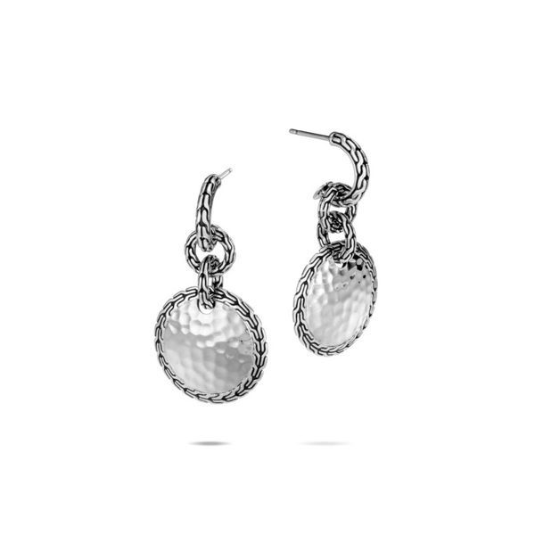 Sterling Silver Classic Chain Hammered Drop Earring Koerber's Fine Jewelry, Inc. New Albany, IN