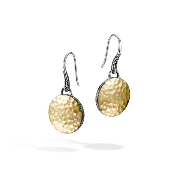 Sterling Silver and 18k Bonded Yellow Gold Hammered Drop Earrings Koerber's Fine Jewelry, Inc. New Albany, IN