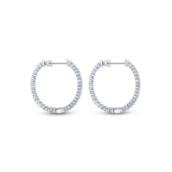 14K White Gold Inside Out Diamond Hoop Earrings Image 2 Koerber's Fine Jewelry, Inc. New Albany, IN